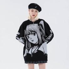 Dzianiny Harajuku zimowe ubrania kobiet 2020 ponadgabarytowych swetry z długim rękawem Top Gothic moda japoński Kawaii Cartoon Streetwear