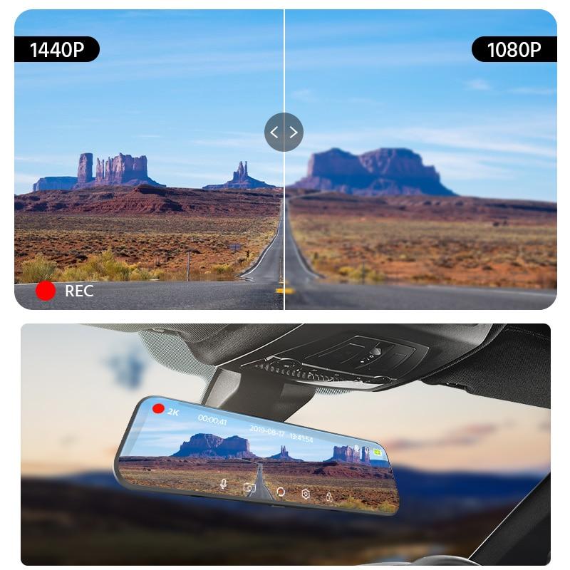 E-ACE A37 Автомобильный видеорегистратор 2K камера HD 1440P 10 дюймов поток медиа зеркало заднего вида ночное видение регистратор Авто регистратор ...