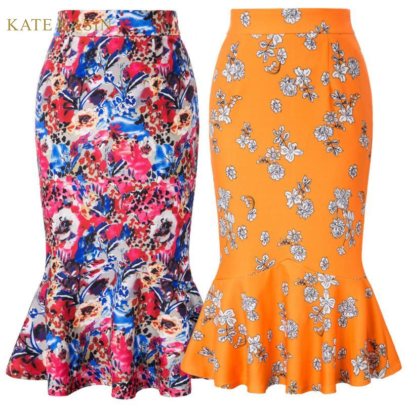 Kate Kasin Women Long Mermaid Pencil Skirt Floral Print Bodycon Skirt High Waist Hips-Wrapped Side Zipper Ruffles Skirts KKE0208