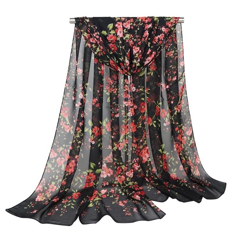 Brand New Fashion Chiffon Scarf Women Thin Shawl Scarves Female Hot Sale Printed Floral Wrap Scarves Lady Hijab Stoles Wholesale