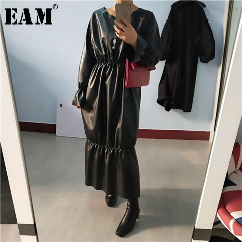 Женское плиссированное платье EAM, черное платье большого размера из искусственной кожи с длинными рукавами и круглым вырезом, весенне Осенняя мода 2020 1R198 Платья      АлиЭкспресс