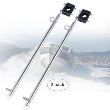 2 Pieces Stainless Steel Rail Mount Boat Pulpit Staff (7/8 - 1 1/4), 15.5Boat Yacht Marine Flag Pole image