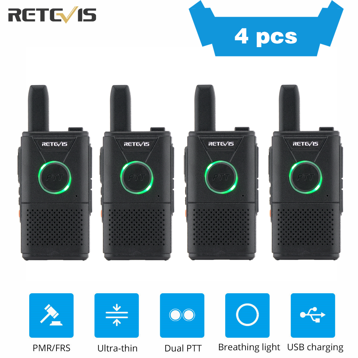 Mini Walkie Talkie 4pcs Retevis RT618/RT18 Radio Station Ultra-thin Dual PTT Two Way Radio Portable FRS PMR446 Frequency Hopping