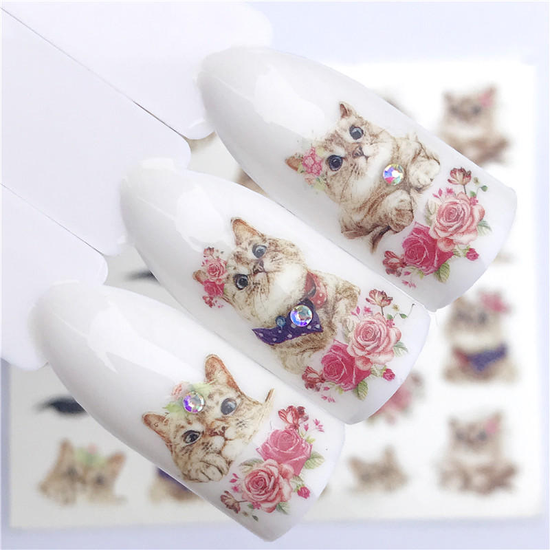 FWC 1 PC Summer Flower Series Nail Water Decals Cute Cat Pattern Tranfer Sticker Flamingo Fruit Nail Art Decoration