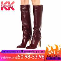 KemeKiss grande taille 35-48 genou bottes femmes bout carré chaussures de créateur femmes qualité hiver talon haut Botas femme chaussures