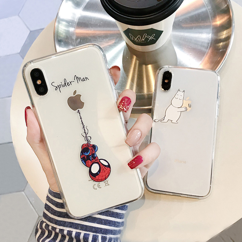 For iphone 11 Pro Max 6 7 8 6s Case For iphone X XS XR 7 8 Plus xs max 5 5s se 2020 Case Cover Spiderman Transparent Mickey Case(China)