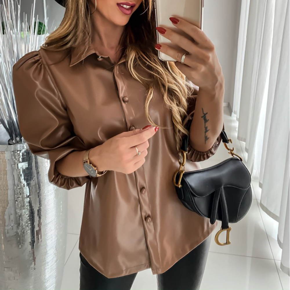 Leather Shirts Blouses Woman 2019 New Casual Lapel Pull Sleeve Khaki Tops Spring Autumn Ladies Button PU Shirt Women Blouse D30