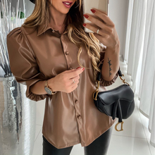 Leather Shirts Blouses Woman 2019 New Casual Lapel Pull Slee