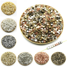 200Pcs 4mm Acrylic Plated CCB Square Seed Space Beads for Jewelry Making DIY Bracelet Necklaces