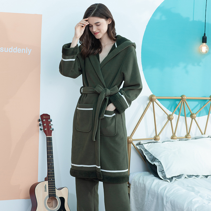 Winter Women Bathrobes Hooded Homewear Nightgown Loose Pajamas Mid-length Flannel Thick Warm Soft Sleepwear Home Dressing gown