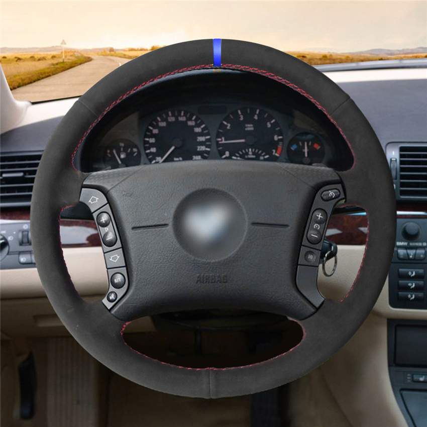 MEWANT-Hand-stitched-Black-Suede-Steering-Wheel-Cover-for--E36-1995-1997-E46-1998-2004-2