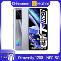 Realme-teléfono inteligente GT Neo, 8GB, 128GB, 5G, Dimensity 1200, ocho núcleos, 6,43 pulgadas, 120Hz, Super AMOLED, 50W, carga rápida, 64MP, WIFI6, NFC, nuevo