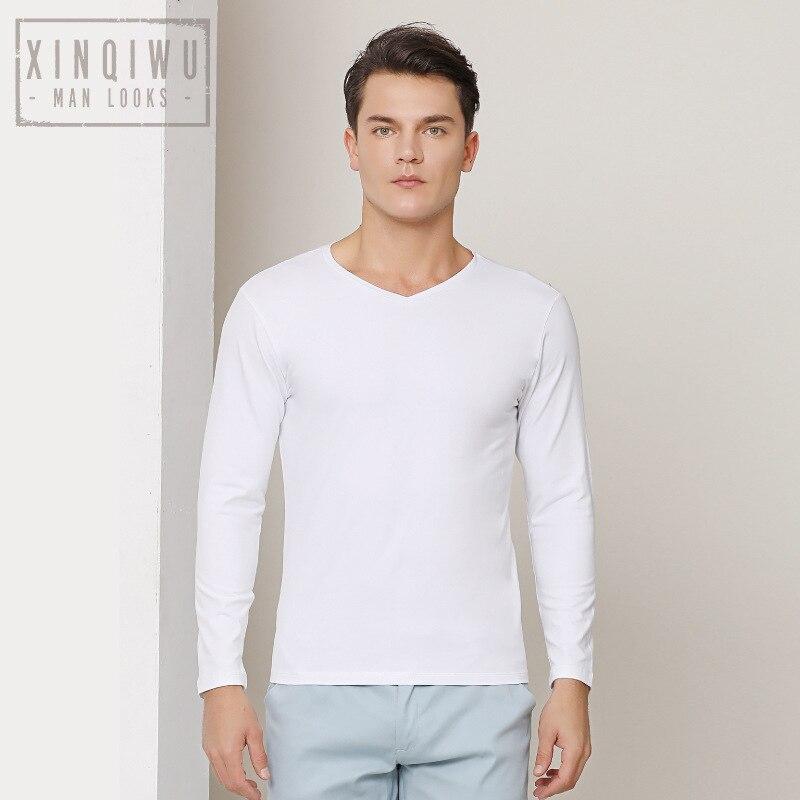 2019 Nuovi Uomini di Stile T Shirt Manica Lunga Scollo a Cuore 95% Cotone Della Camicia di Base con Scollo a V Vestiti di Cotone - 2