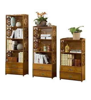 Chinese drawer bookcase simple bamboo shelf living room rack solid wood floor storage rack simple