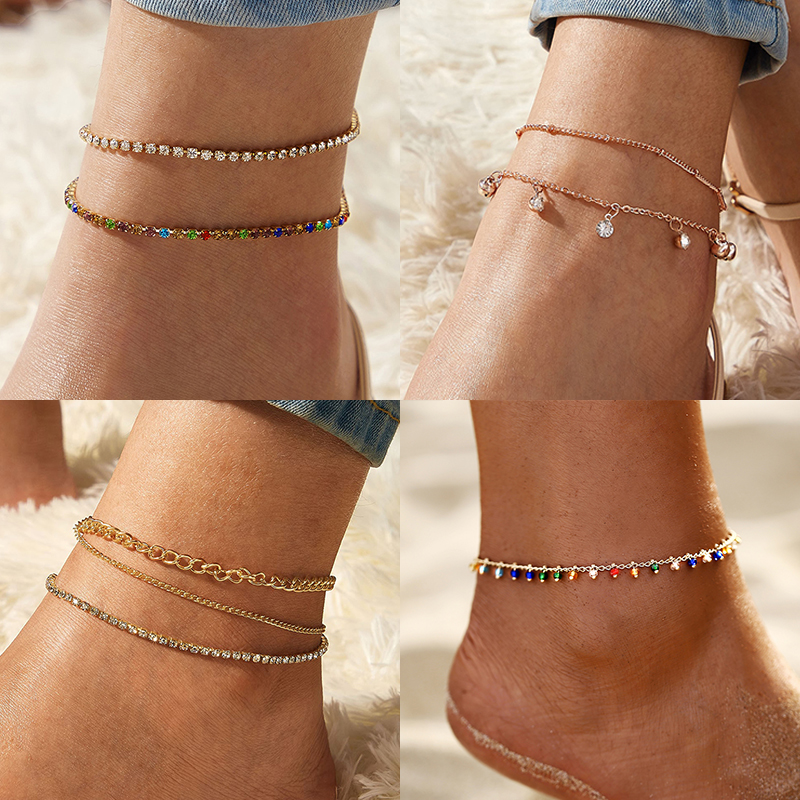 IF YOU BOHO Fashion Crystal Anklets Set for Women Multilayer Chain Heart Stone Anklet Foot Bracelet Beach Anklet Jewelry