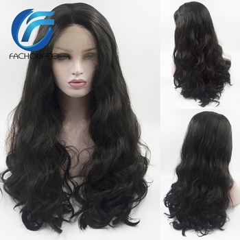 FACHOUFEE  Body Wave Lace Front Wigs for Women Black Color Synethetic Hair Glueless Lace Wigs with Natural Hairline 1