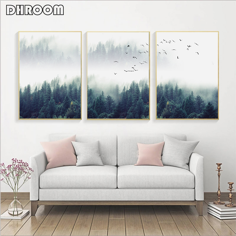 Canvas Wall Decor Forest Landscape Decoration Canvas Poster Nordic Style Succulent Wall Art Print Nature Painting Decorative Picture-50X70Cmx2 Unframed
