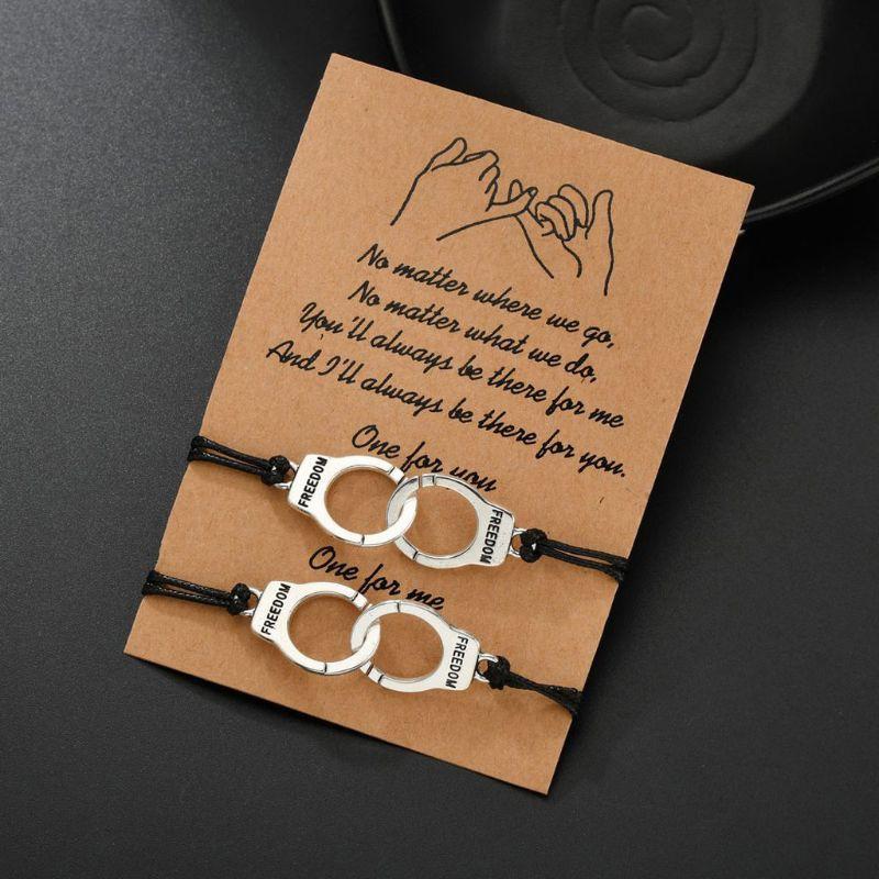 2Pcs Handcuff Freedom Justice Charm Friendship Couple Lover Bracelets Kit Unisex F3MD