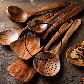 1-7pcs/set  Teak natural wood tableware spoon colander special nano soup skimmer cooking wooden kitchen tool kit - discount item  20% OFF Kitchen,Dining & Bar