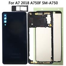 Voor Samsung Galaxy A7 2018 A750 Back Battery Cover + Midden Frame + Sim Card Case Vervanging Nieuwe A750 Volledige behuizing Batterij Cover