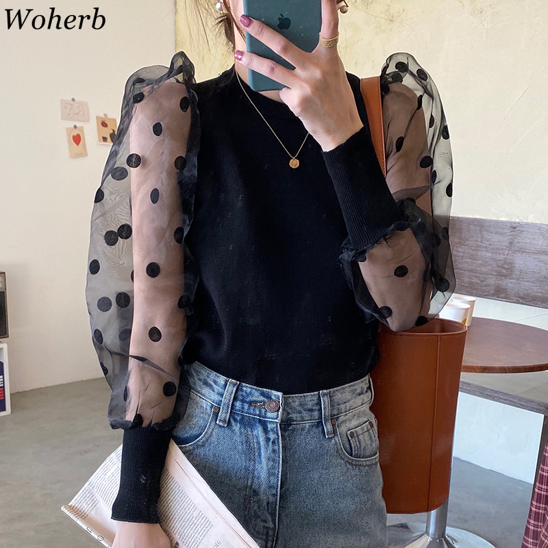 Woherb Spring Winter Fashion Women Slim Sweater Ladies Knitted Ribbed Spotted Polka Dots Mesh Puff Sleeve Jumper Top Sweater