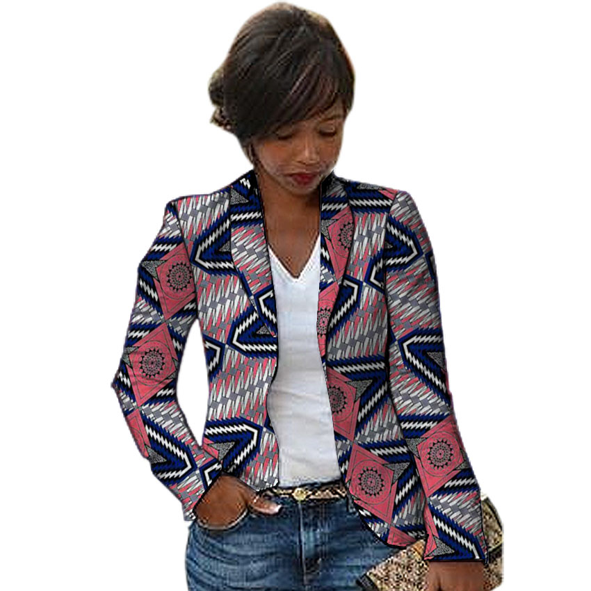 Women African Blazers Traditional Female Dashiki Print Blazer For Ladies Custom Made Ankara Outfit Women's Suit Jacket