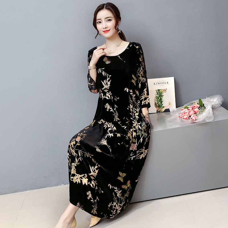 winter  black gold velvet dress  2