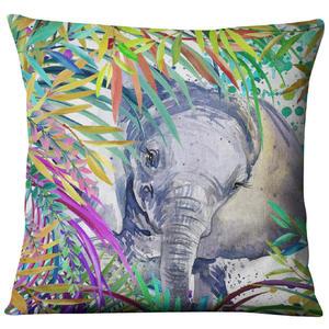Image 5 - Hand painted Watercolor Printed Linen Cushion Cover  Animals Plants Flamingo Giraffe Throw Pillowcase Home Decor Sofa Decoration
