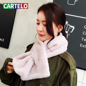 CARTELO New scarf faux fur thick ladies scarf comfortable and warm imitation rabbit fur scarf ladies pure color bib for women