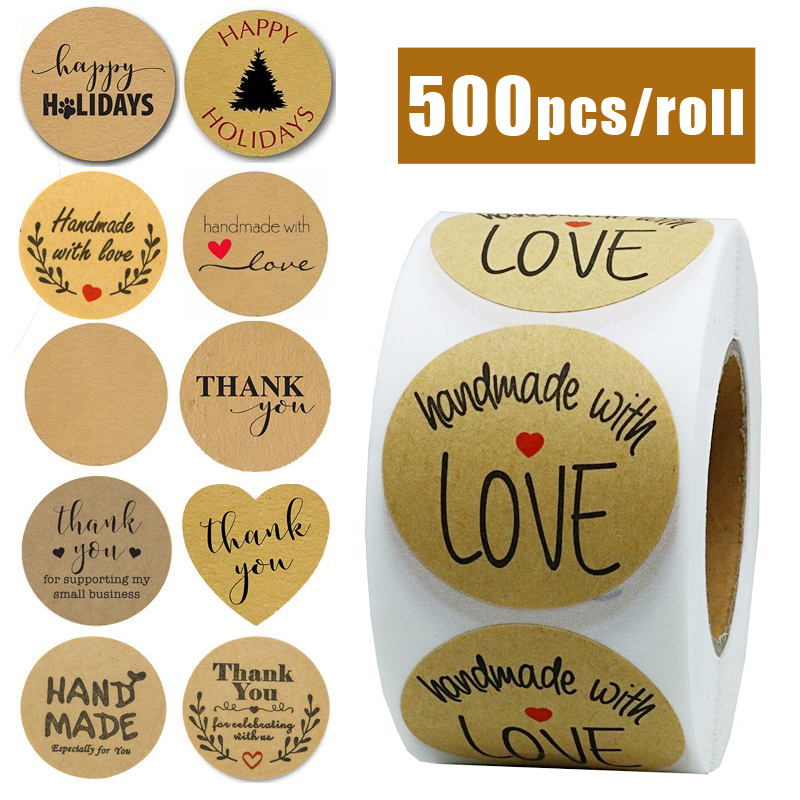 500pcs/roll Handmade Sticker Thank You Stickers Kraft Paper Label Coffee Round Stationery  Food Stickers Deco For Envelope Gift