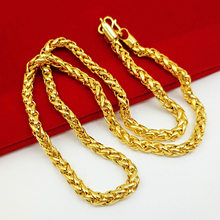 A Generation of Fat Brass Gold Plated Gold Necklace Men's Women's Gold Plated 24K Imitation Jewelry Hollow Thailand Chain(China)