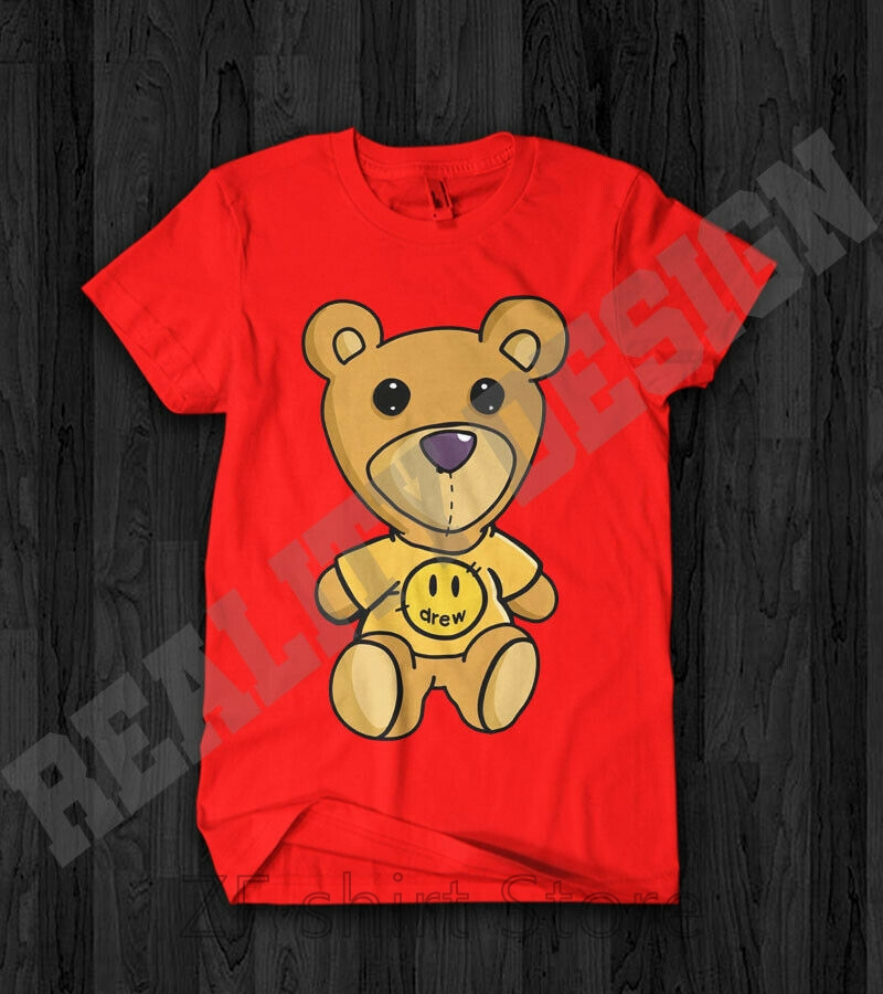 T-Shirt Drew House Purpose Street Justin Bieber Bear-Logo Reprint Women 100%Cotton Teddy title=