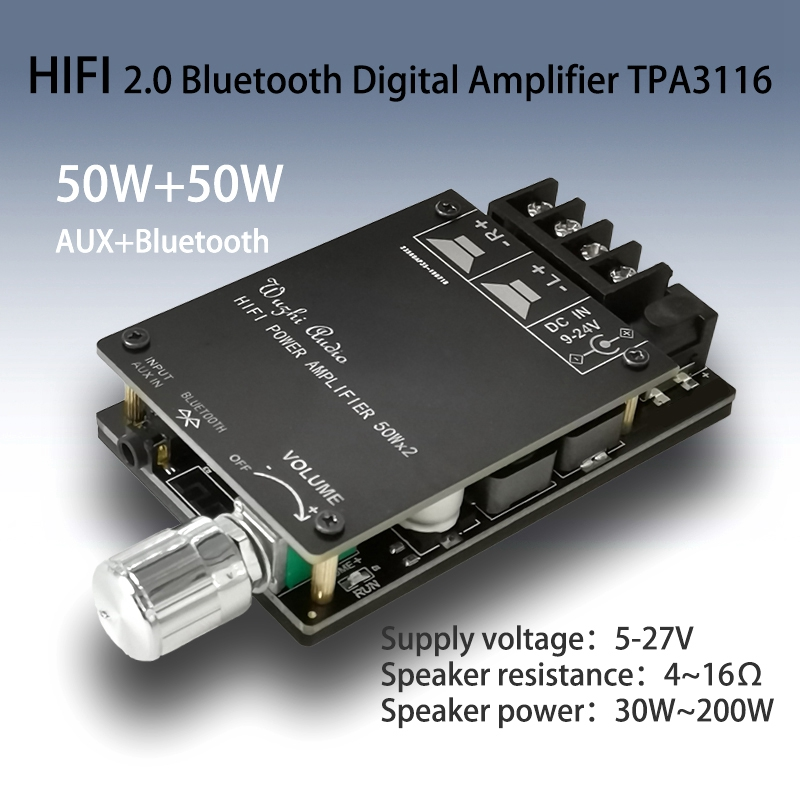 HIFI Wireless TPA3116 Digital Power Audio <font><b>Amplifier</b></font> <font><b>Board</b></font> <font><b>TPA3116D2</b></font> 50WX2 Stereo AMP Amplificador Home Theater image