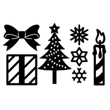 Naifumodo Christmas Tree Dies Gift Box Metal Cutting Scrapbooking for Card Making DIY Embossing Cuts Craft Letter