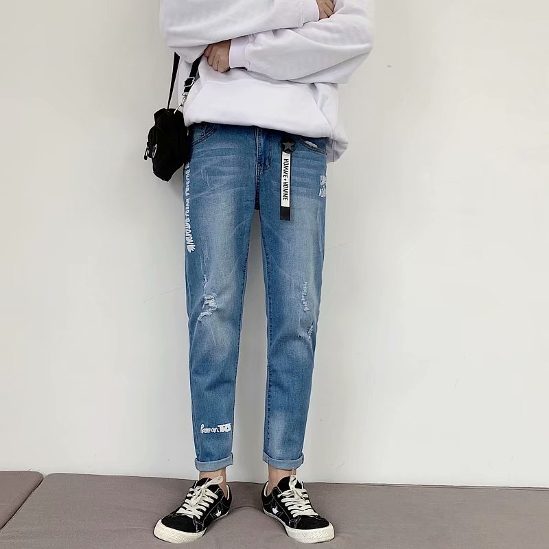 Jeans Men's 2019 Spring And Autumn New Style Teenager Korean-style Trend With Holes Printed Lettered Versatile Straight-leg Pant