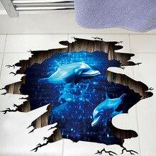 3D Dark Blue Dream Dolphin Floor Sticker Bathroom Living Room Floor Decoration Mural Wall Stickers Home Decor Decals Wallpaper
