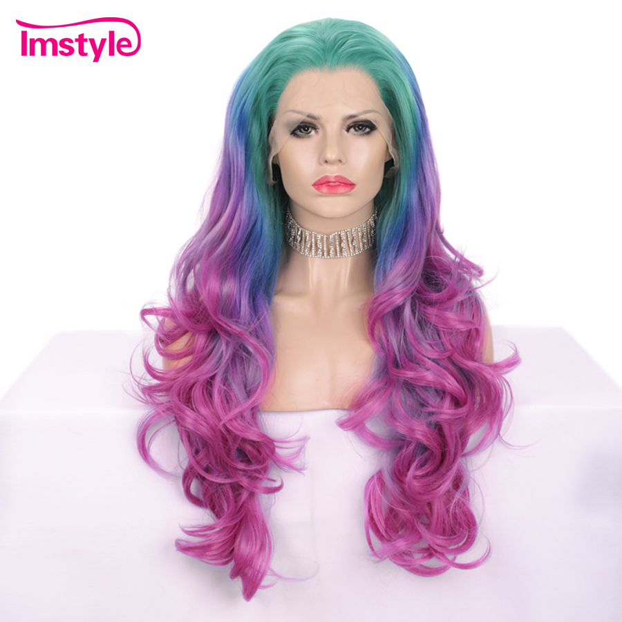 Imstyle Green Blue Pink Purple Wig Ombre Colorful Synthetic Lace Front Wig Multicolor Heat Resistant Fiber Long Wigs For Women