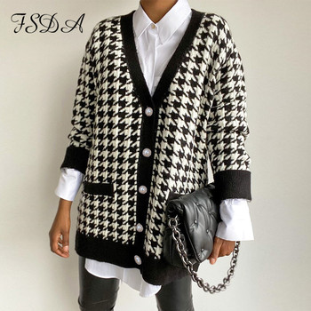 FSDA V Neck Women Button Black Houndstooth Cardigan 2020 Long Sleeve Sweater Autumn Winter Knitted Loose Oversized Jumper Casual 1