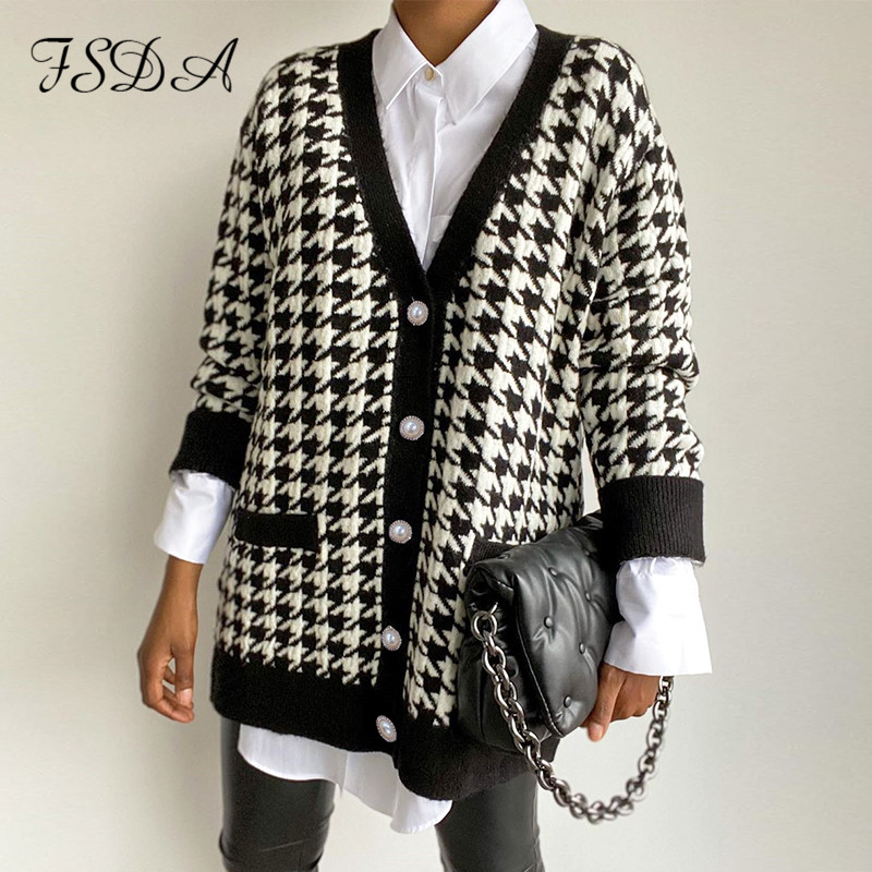 FSDA V Neck Women Button Black Houndstooth Cardigan 2020 Long Sleeve Sweater Autumn Winter Knitted Loose Oversized Jumper Casual
