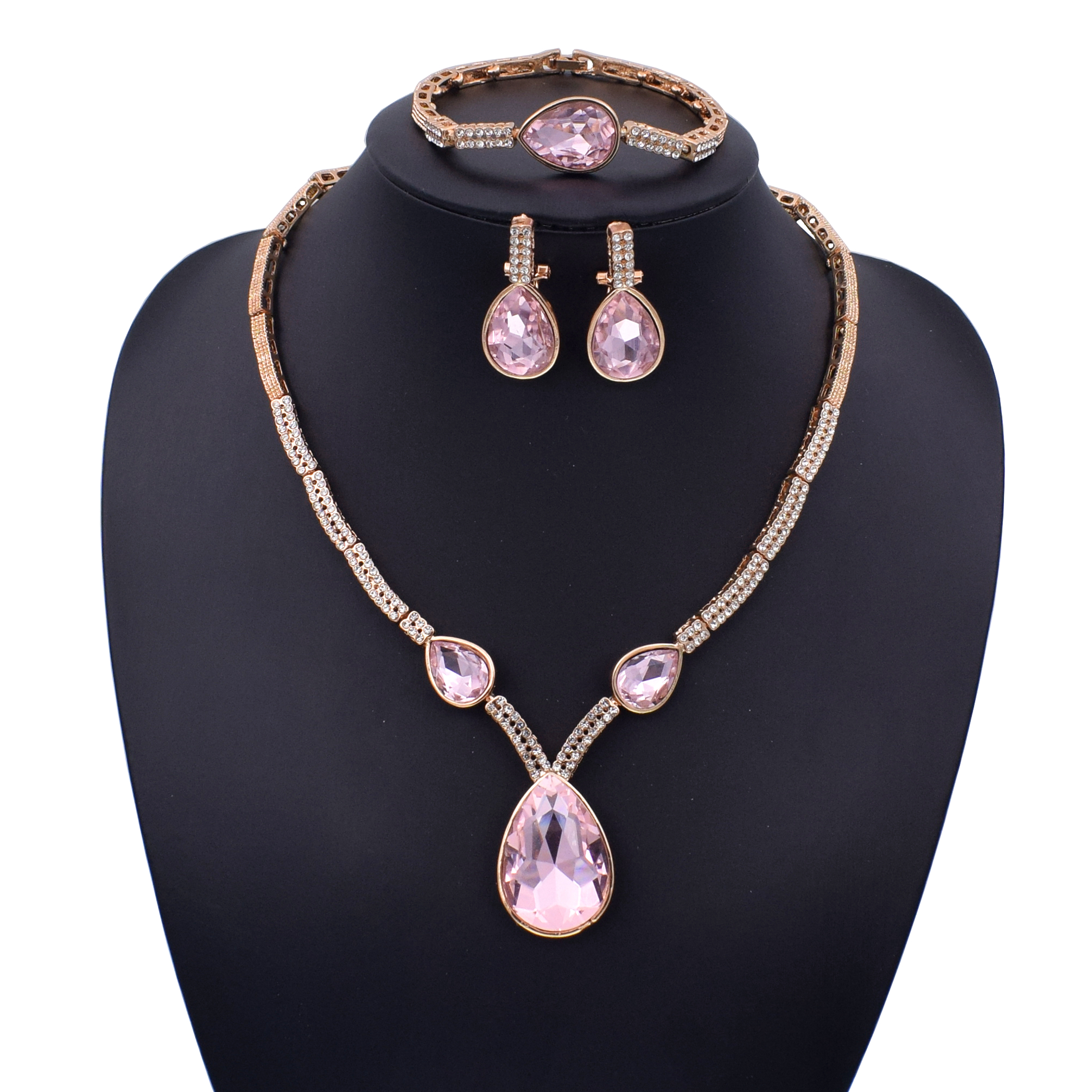 African Beads Jewelry Set Gold Color Bridal Jewelry Sets For Women Indian Wedding Jewelry Necklace Earrings Set Resizable