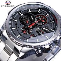 Forsining Silber Grau Mens Mechanische Uhren Multifunktions 6 Hände Datum Military Armee Sport Stahlband Automatische Uhr Relogio