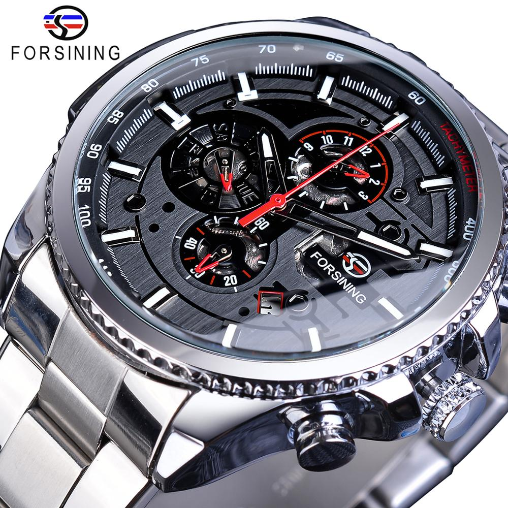 Forsining Silver Grey Mens Mechanical Watches Multifunction 6 Hands Date Military Army Sport Steel Strap Automatic Clock Relogio