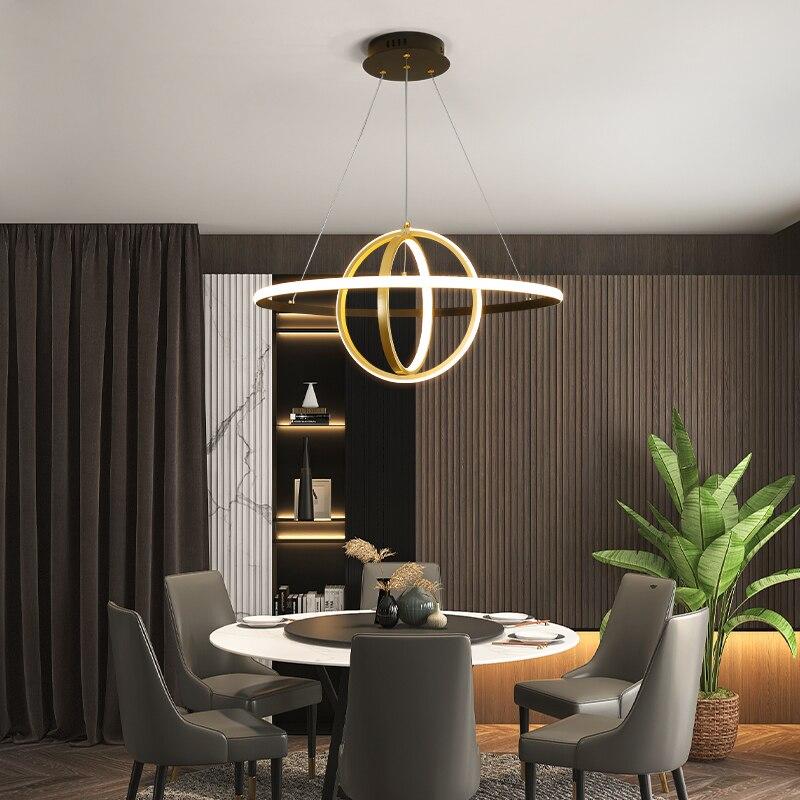 Moderne pendentif Led lampe noir or cercle anneaux suspendus lumière pour salon salle à manger chambre cuisine intérieur décoration luminaire