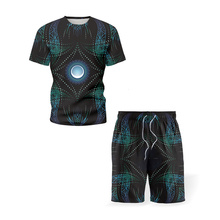 2021 New Men s Sets Sportswear Casual T Shirt Printed Shorts Two Piece Summer Fashion Track And Field Clothes Quick Dry Fitness