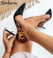 Sorbern Mature Leopard Women Pump Pointed Toe Black Heels Slip On Office Lady Shoe Stilettos High Heel Women Shoe Custom Colors