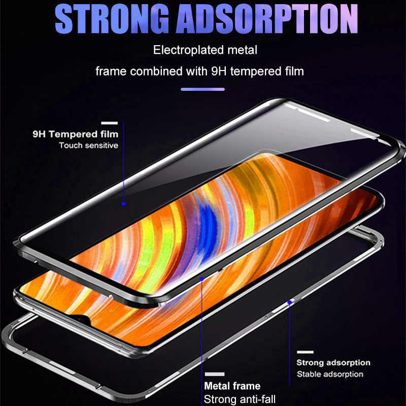 360 del metallo Della Cassa Del Telefono Magnetico Per Xiaomi Redmi 8 8A Nota 10 9 8 7 K20 K30 Pro Copertura Completa casi Della Copertura di vetro Per Xiaomi 10 9T Fliq