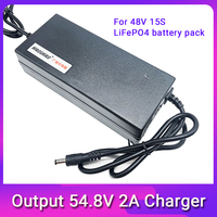 48V 2A LiFePO4 battery Charger output 54.8V 2A 100 240VAC DC Port Used for 48V 10AH 12AH 15AH Electric bike battery LFP battery