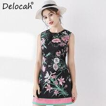 Delocah Fashion Runway Summer Vintage Mini Short Dress Women's Sleeveless Floral Print Beading Back Zipper Ladies Vest Dresses цена в Москве и Питере