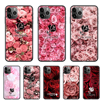 French Cosmetics Lancome Rose Phone Case cover For Iphone 11 7 8 XR 5 5C 5S 6 6S PLUS X XS PRO SE 2020 MAX black funda painting image