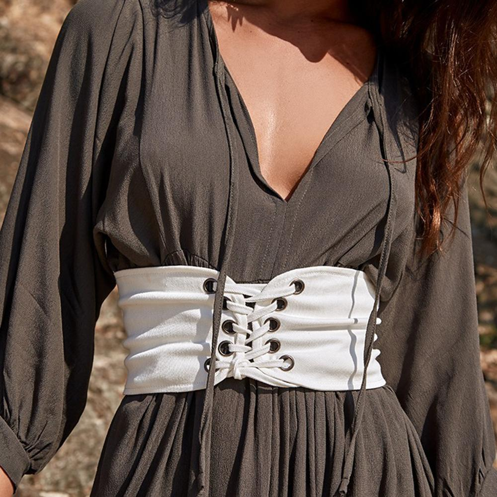 2020 Lace-up Corset Belts For Women Knitted Slimming Body Fashion Wide Waist Belt Ladies Clothing Accesoories Female White Black